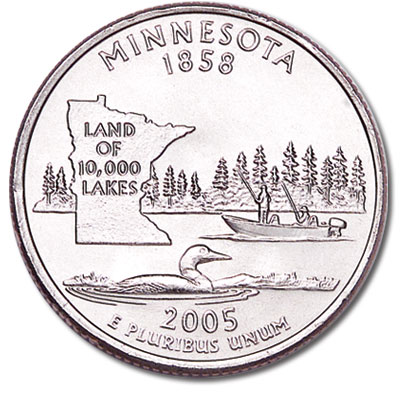 Image for 2005-D Minnesota Statehood Quarter, Uncirculated, MS60 from Littleton Coin Company