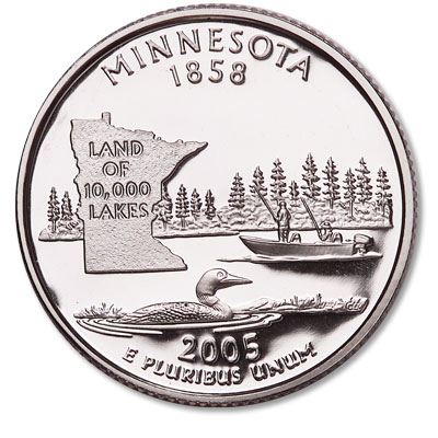 Image for 2005-S Minnesota Statehood Quarter, Choice Proof, PR63 from Littleton Coin Company