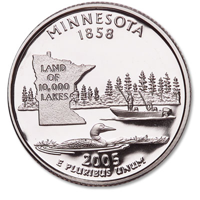 Image for 2005-S 90% Silver Minnesota Statehood Quarter, Choice Proof, PR63 from Littleton Coin Company