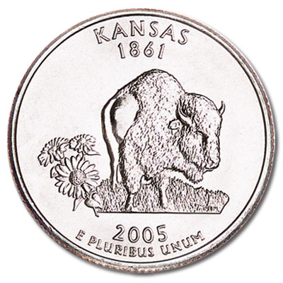 Image for 2005-P Kansas Statehood Quarter, Uncirculated, MS60 from Littleton Coin Company