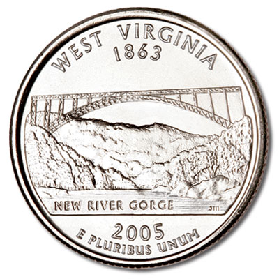 Image for 2005-P West Virginia Statehood Quarter, Uncirculated, MS60 from Littleton Coin Company