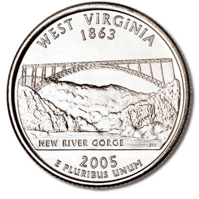 Image for 2005-D West Virginia Statehood Quarter, Uncirculated, MS60 from Littleton Coin Company