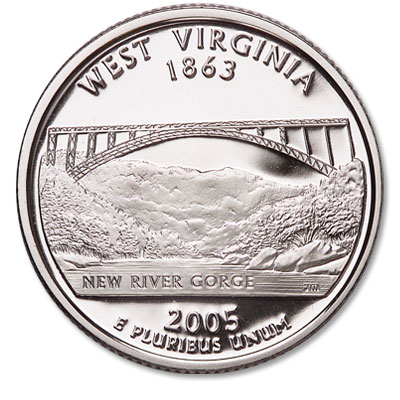 Image for 2005-S 90% Silver West Virginia Statehood Quarter from Littleton Coin Company