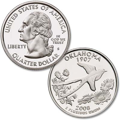 Image for 2008-S 90% Silver Oklahoma Statehood Quarter from Littleton Coin Company