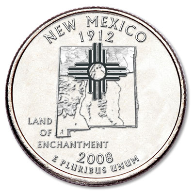 Image for 2008-D New Mexico Statehood Quarter, Uncirculated, MS60 from Littleton Coin Company
