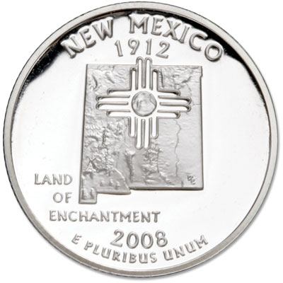 Image for 2008-S 90% Silver New Mexico Statehood Quarter from Littleton Coin Company