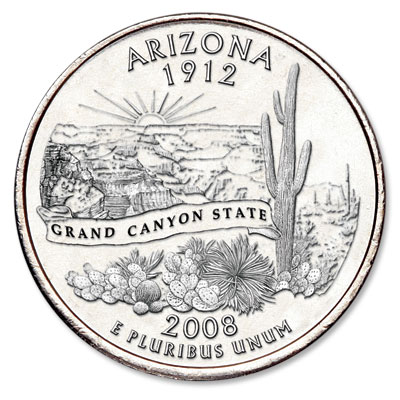 Image for 2008-P Arizona Statehood Quarter, Uncirculated, MS60 from Littleton Coin Company