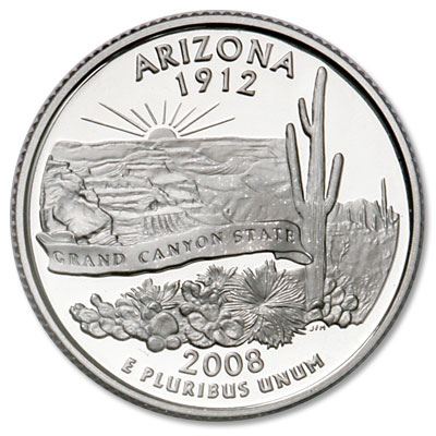 Image for 2008-S Arizona Statehood Quarter, Choice Proof, PR63 from Littleton Coin Company