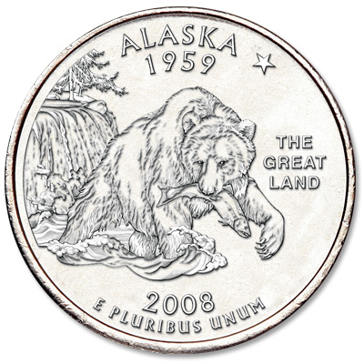 Image for 2008-D Alaska Statehood Quarter, Uncirculated, MS60 from Littleton Coin Company