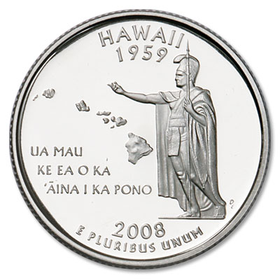 Image for 2008-S Hawaii Statehood Quarter, Choice Proof, PR63 from Littleton Coin Company