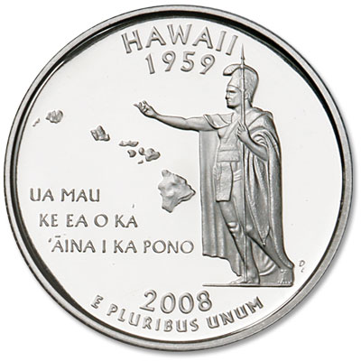 Image for 2008-S 90% Silver Hawaii Statehood Quarter from Littleton Coin Company