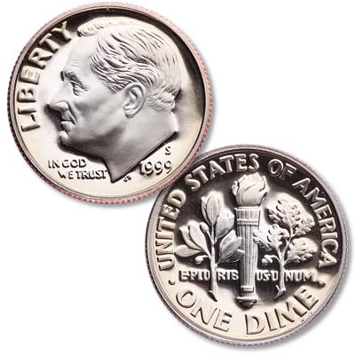 Image for 1999-S Clad Roosevelt Dime from Littleton Coin Company