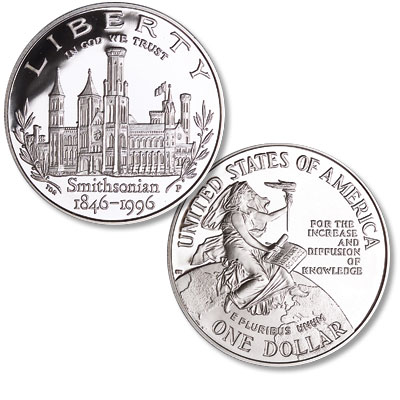 Image for 1996-P Smithsonian 150th Anniversary Silver Dollar from Littleton Coin Company