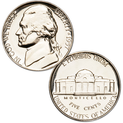 Image for 1957 Jefferson Nickel Proof from Littleton Coin Company