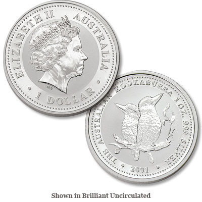Image for 2001 Australia 1 oz Silver $1 Kookaburra from Littleton Coin Company