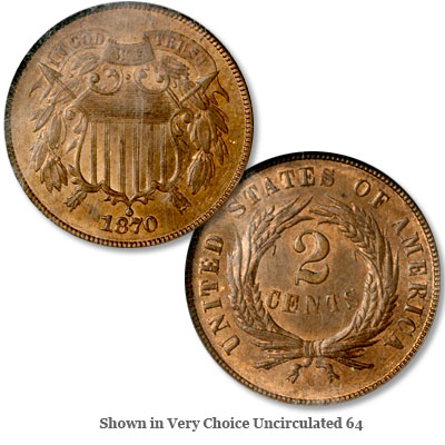 Image for 1870 Two Cent Piece, Red Brown from Littleton Coin Company