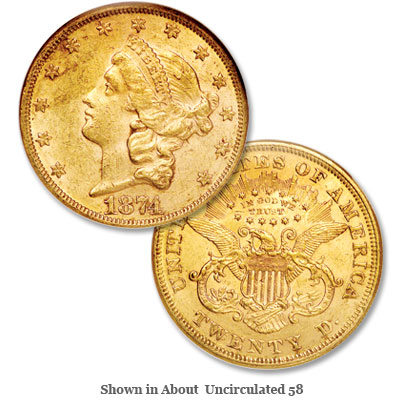 Image for 1874 Liberty Head $20 Gold from Littleton Coin Company
