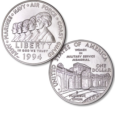 Image for 1994-W Women in Military Service Memorial Silver Dollar from Littleton Coin Company