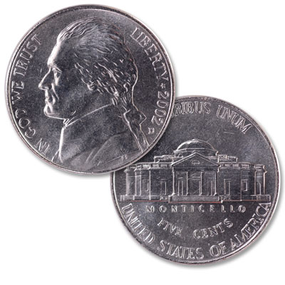 Image for 2002-D Jefferson Nickel, Uncirculated-60 from Littleton Coin Company