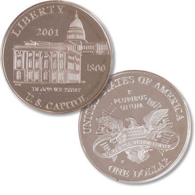 Image for 2001-P Capitol Visitor Center Silver Dollar from Littleton Coin Company