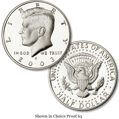 Image for 2003-S Kennedy Half Dollar, 90% Silver, Proof from Littleton Coin Company