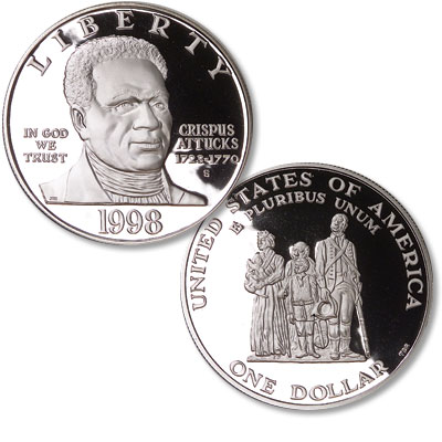 Image for 1998-S Black Revolutionary War Patriots Silver Dollar, Choice Proof 63 from Littleton Coin Company