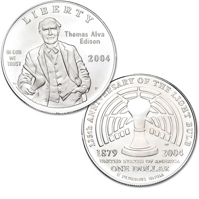Image for 2004-P Thomas Alva Edison Commemorative Silver Dollar from Littleton Coin Company