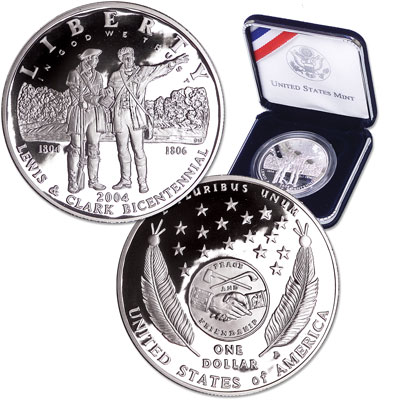 Image for 2004-P Lewis & Clark Silver Commemorative Dollar, Choice Proof, PR63 from Littleton Coin Company