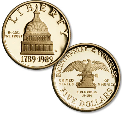 Image for 1989-W Congress Bicentennial Gold $5 from Littleton Coin Company
