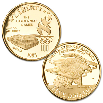 Image for 1995-W Centennial Olympics (Stadium) Gold $5 Commemorative from Littleton Coin Company