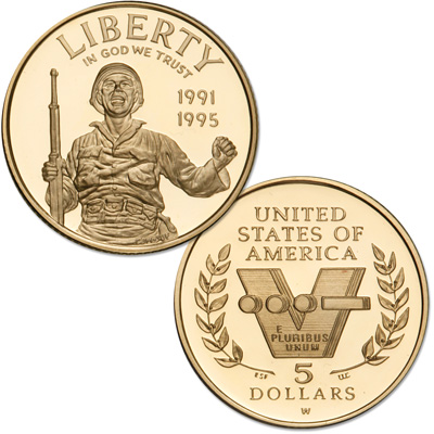 Image for 1993-W (1991-1995) World War II $5 Gold Commemorative from Littleton Coin Company