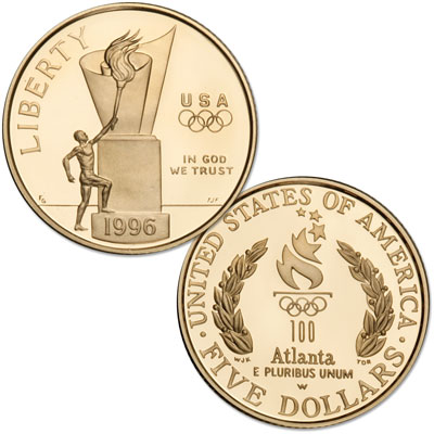 Image for 1996-W Centennial Olympics (Cauldron) Gold $5, Choice Proof 63 from Littleton Coin Company