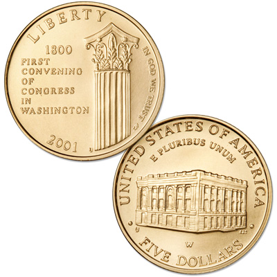 Image for 2001-W U.S. Capitol Visitor Center Gold $5 Commemorative from Littleton Coin Company