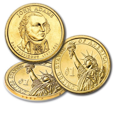 Image for 2007-P Twenty-Five John Adams Presidential Dollars from Littleton Coin Company