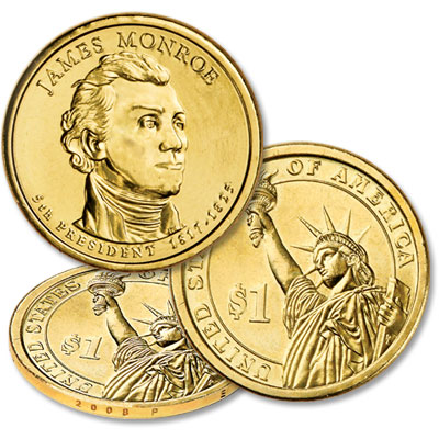 Image for 2008-P James Monroe Dollar 1817-1825, Uncirculated, MS-60 from Littleton Coin Company