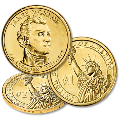 Image for 2008-D 25 James Monroe Presidential Dollars, Uncirculated from Littleton Coin Company