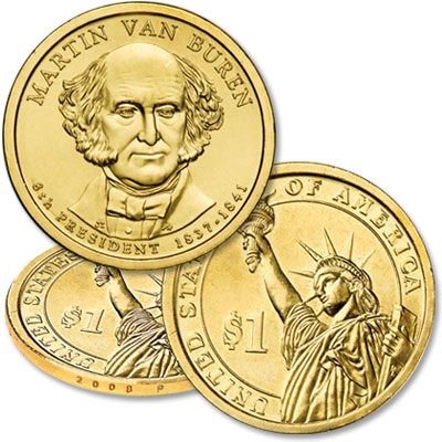 Image for 2008-P Martin Van Buren Presidential Dollar, Uncirculated, MS60 from Littleton Coin Company