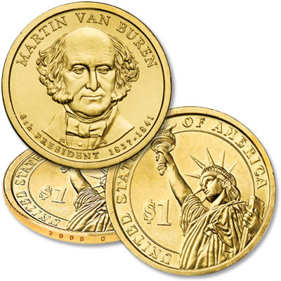Image for 2008-D Martin Van Buren Presidential Dollar, Uncirculated, MS60 from Littleton Coin Company
