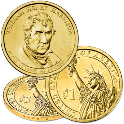 Image for 2009-D William Henry Harrison Presidential Dollar, Uncirculated, MS60 from Littleton Coin Company