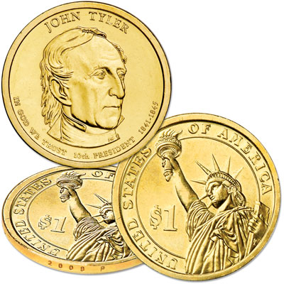 Image for 2009-P John Tyler Presidential Dollar, Uncirculated, MS60 from Littleton Coin Company