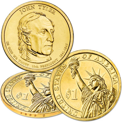 Image for 2009-D John Tyler Presidential Dollar from Littleton Coin Company