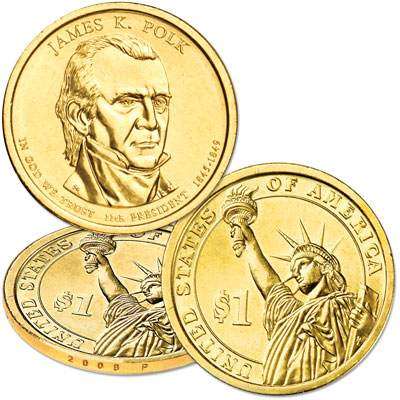Image for 2009-P James K. Polk Presidential Dollar, Uncirculated, MS60 from Littleton Coin Company