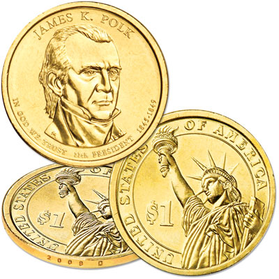 Image for 2009-D James K. Polk Presidential Dollar, Uncirculated, MS60 from Littleton Coin Company