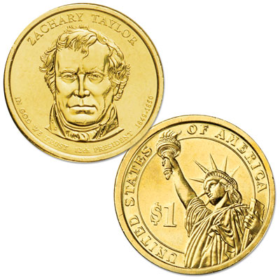 Image for 2009-D Zachary Taylor Presidential Dollar, Uncirculated, MS60 from Littleton Coin Company