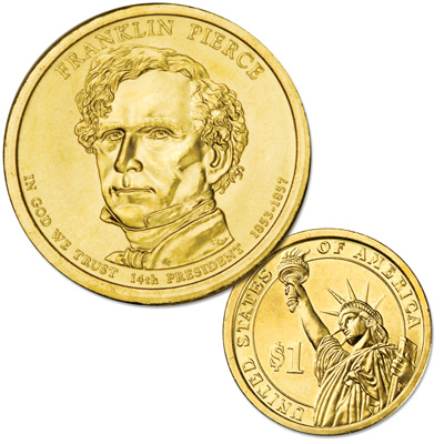 Image for 2010-D Franklin Pierce Presidential Dollar, Uncirculated, MS60 from Littleton Coin Company