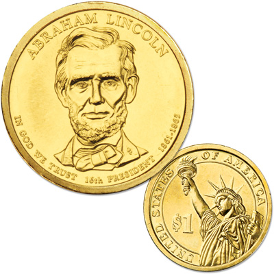 Image for 2010-D Abraham Lincoln Presidential Dollar, Uncirculated, MS60 from Littleton Coin Company