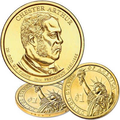 Image for 2012-P Chester A. Arthur Presidential Dollar from Littleton Coin Company