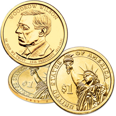 Image for 2013-D Woodrow Wilson Presidential Dollar from Littleton Coin Company