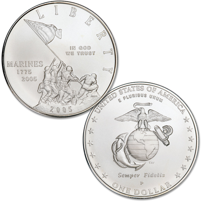Image for 2005-P Marine Corps 230th Anniversary Silver Dollar from Littleton Coin Company
