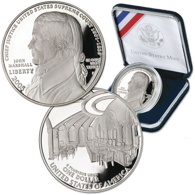Image for 2005-P Chief Justice John Marshall Silver Dollar, No Case, Choice Proof from Littleton Coin Company